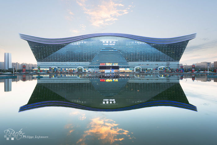 Chengdu Global Center reflecting in the water Architecture Bridge - Man Made Structure Built Structure Chengdu China City Development Engineering Famous Place Geometry Globalcenter Horizontal Symmetry Outdoors Sichuan Sichuna Symmetry Travel Water