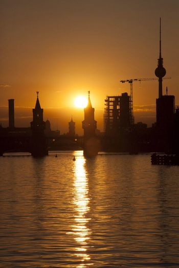 Sunset behind Oberbaumbrücke, Berlin Sunset Berlin Cityscapes City