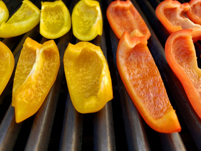 Close-up of fruits on barbecue grill