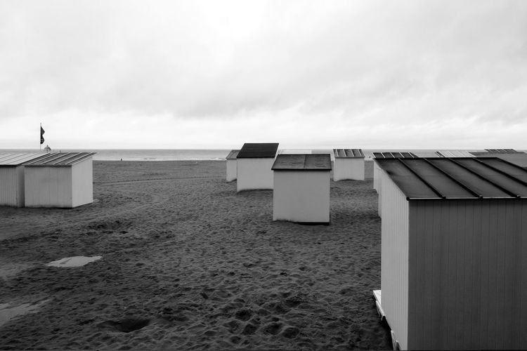 Beach Clouds Blackandwhite Beach Cabins Foggy Morning Sand Roofscape Northsea Cold Temperature Rain Day Morning Beautifully Organized Travel Destinations Vacations Sea No People White Nature In Row Tranquillity Beach Sand Outdoors Day Sea No People Nature Sky Water