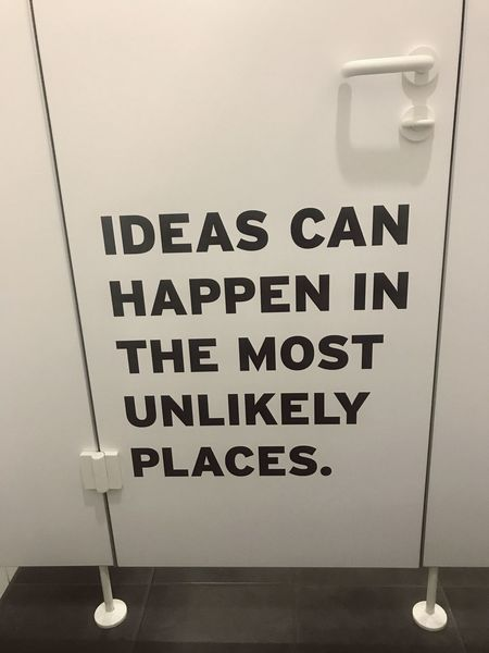 Ideas can happen in the most unlikely places — typo on a toilet door Thinking Creativity Creative Thinking Toilet Door Toilet Ideation Ideas Ideas Can Happen In The Most Unlikely Places Text Western Script Communication Capital Letter Indoors  No People Close-up