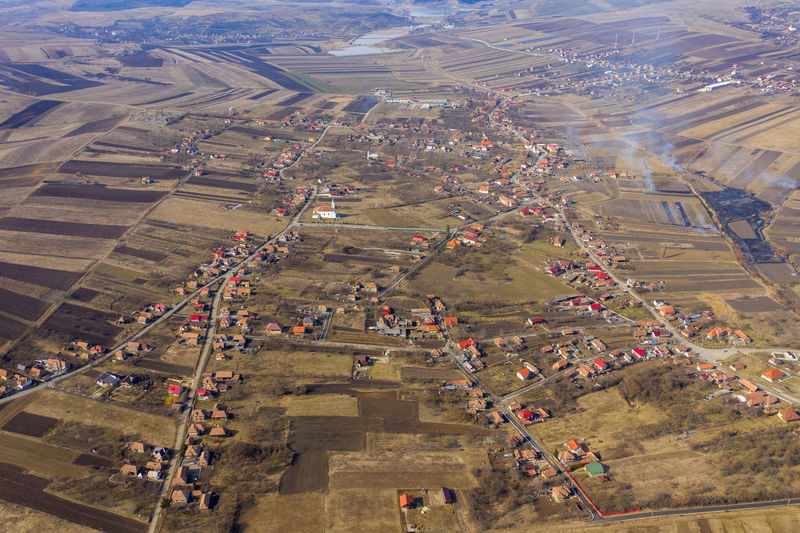 Aerial view of a village, drone shot High Angle View Landscape Aerial View Nature Environment Outdoors Scenics - Nature Day Road Drone  Dronephotography Drone Photography Droneshot Aerial Aerial Photography Aerial Shot Aerial Landscape Village Transylvania Romania Arable Field Agriculture Plowing The Fields Spring