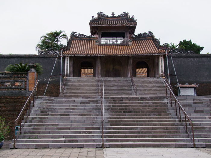 Entrance, Tu Duc Tomb Ancient Architecture Building Building Exterior Built Structure Composition Culture Day Entrance Exterior Huế Low Angle View No People Old Outdoor Photography Outdoors Railing Staircase Steps Tomb Tourist Attraction  Traditional Tu Duc Tomb Vietnam White Clouds
