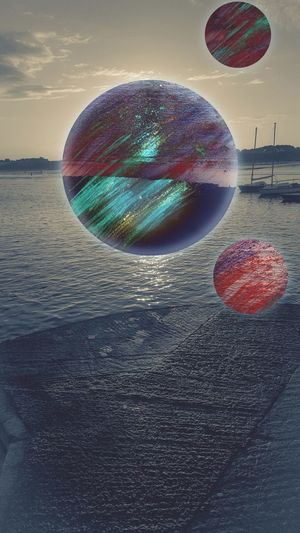3 planets Space Planets Sea Sky Orbs