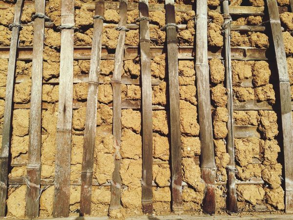 Bamboo Wall Rugged Mud Soil Full Frame Pattern Textured  Close-up Wooden