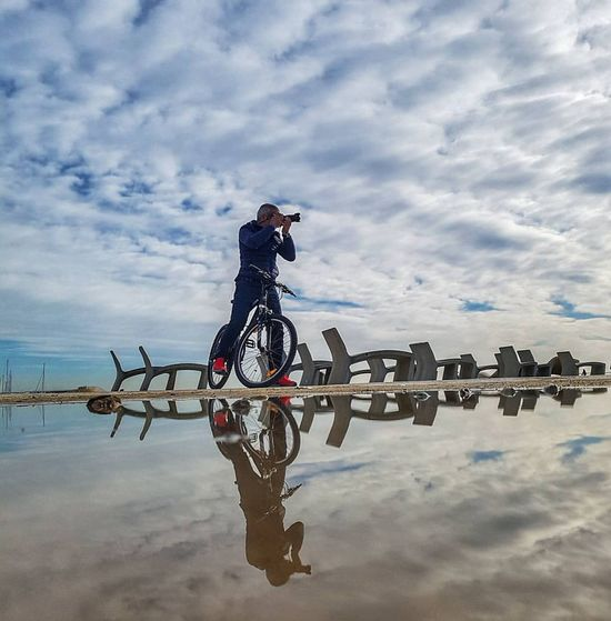 Barcelona Reflection Sky Water Cloud - Sky Reflection Reflections In The Water Reglejos Photography Photographer People Photography People_and_world Bikes Bike Life Biker Life Biketouring Barcelona Sea