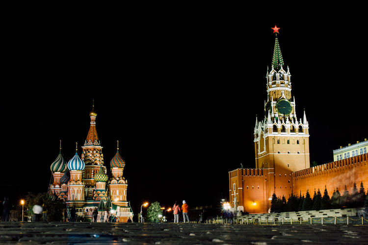 Illuminated Historic Buildings At Red Square In Moscow Kremlin Against Sky At Night