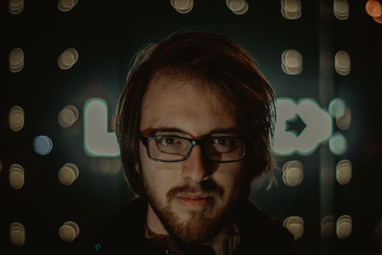 SONY DSC Portrait Headshot One Person Young Adult Eyeglasses  Young Men Glasses Real People Looking At Camera Front View Illuminated Indoors  Night Beard Lifestyles Leisure Activity Light - Natural Phenomenon Close-up Light Contemplation Black Background Sarajevo Bosnia And Herzegovina Long Exposure
