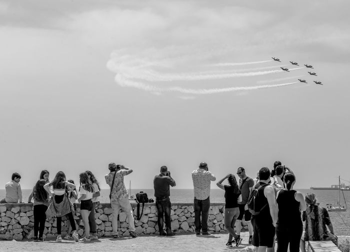 Sky Group Of People Real People Flying Crowd Nature Large Group Of People Men Airplane Airshow Transportation Day Leisure Activity Air Vehicle on the move Cloud - Sky Mode Of Transportation Motion Women Plane Outdoors Blackandwhite Black And White Black & White Skyporn