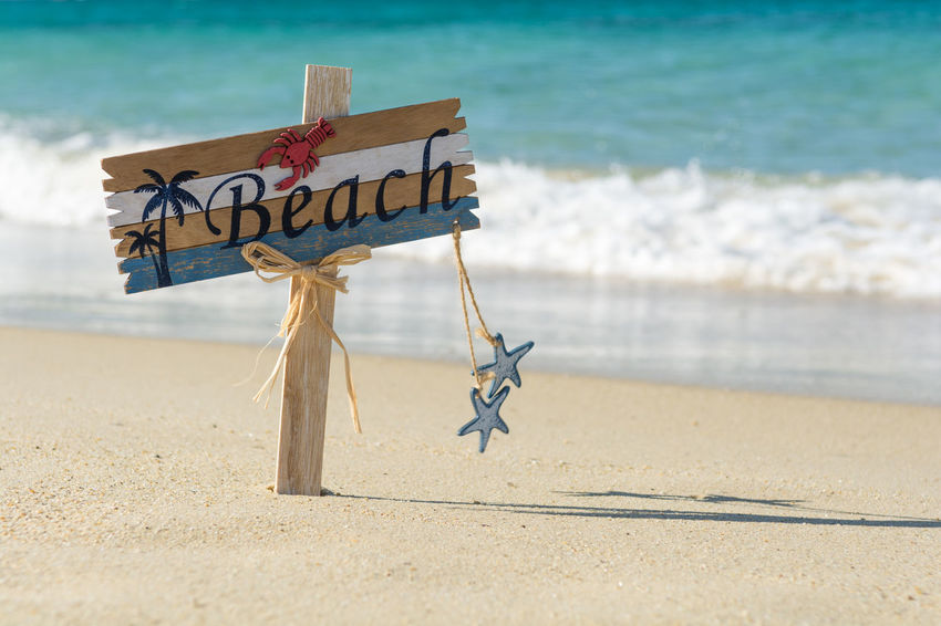 Wooden beach sign on the seaside Palm Tree Signage Swimming Text Travel Vacations Wave Weathered Word Backgrounds Banner Beach Billboard Coast Communication Label Ocean Old Sand Sea Seaside Sign Starfish  Summer Wooden