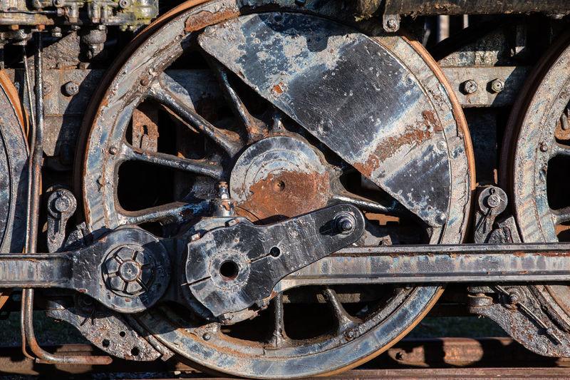 Close-up of abandoned train wheel