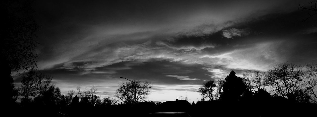 Dramatic Sky Blackandwhite Black & White Blackandwhite Photography Beautiful Nature Backgrounds Sunset Cloud - Sky pano panoramic silhouette sunset Tree Silhouette Low Angle View No People Outdoors Sky Beauty In Nature Nature Architecture Day