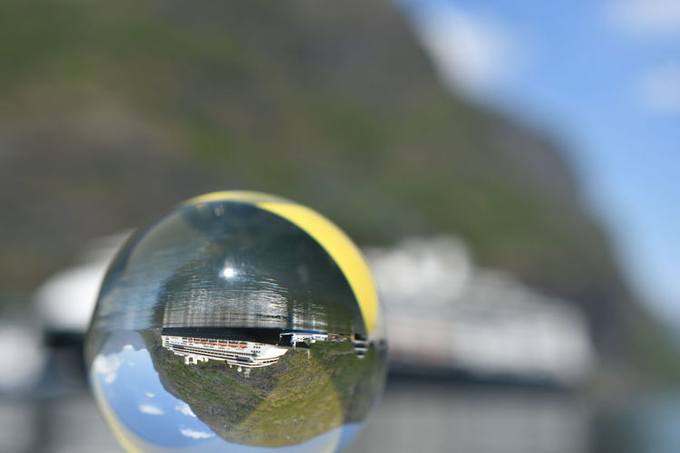 Fjordsofnorway MS Rotterdam Bubble Close-up Day Focus On Foreground Fragility Geometric Shape Glass Glass - Material Kristallkugel Lensball Lensball Photography Nature No People Outdoors Reflection Selective Focus Single Object Sky Sphere Sunlight Transparent Vulnerability  Water