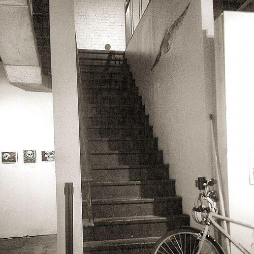 Shadows Lurk Upstairs Monochrome Stairs Bike