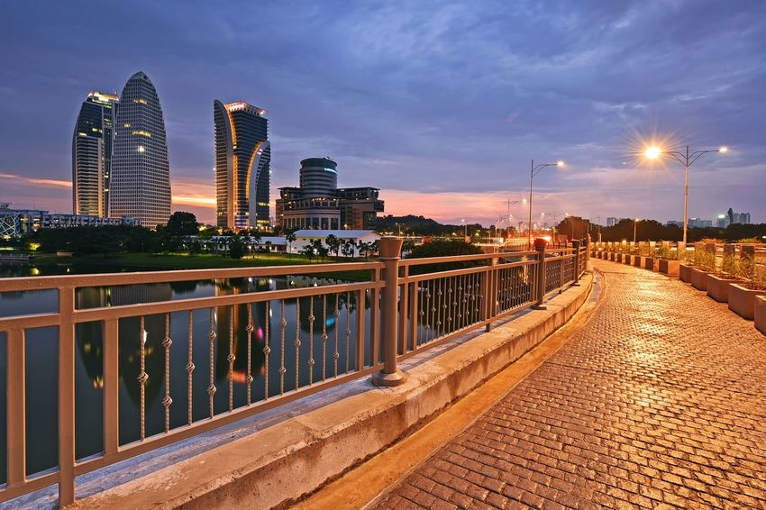 Sunset at Putrajaya Malaysia Reflection Skyline Outdoor Landscape Travel Destinations Sunset_collection Sky And Clouds Travel Getty Images EyeEm Best Shots EyeEm Selects Putrajaya Malaysia Nature EyeEm Gallery View City Urban Skyline Cityscape Illuminated Skyscraper Sky Architecture Bridge - Man Made Structure Light Trail Footbridge Long Exposure Office Building Street Light Sunset