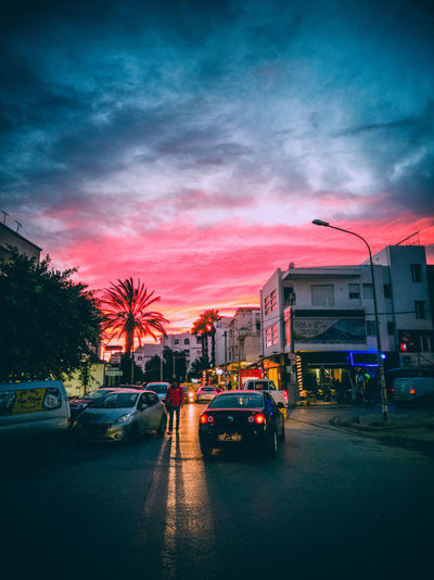 Last light Colorful Cityscape Road Tunisia Nabeul Nabeul Tunisia Car Land Vehicle Transportation Mode Of Transport Sky Cloud - Sky Street Sunset Road Outdoors City