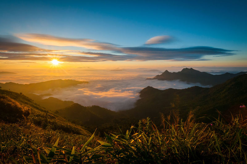 Beauty In Nature Day Fog Landscape Mountain Mountain Range Nature No People Outdoors Scenics Sky Sunset Tranquil Scene Tranquility
