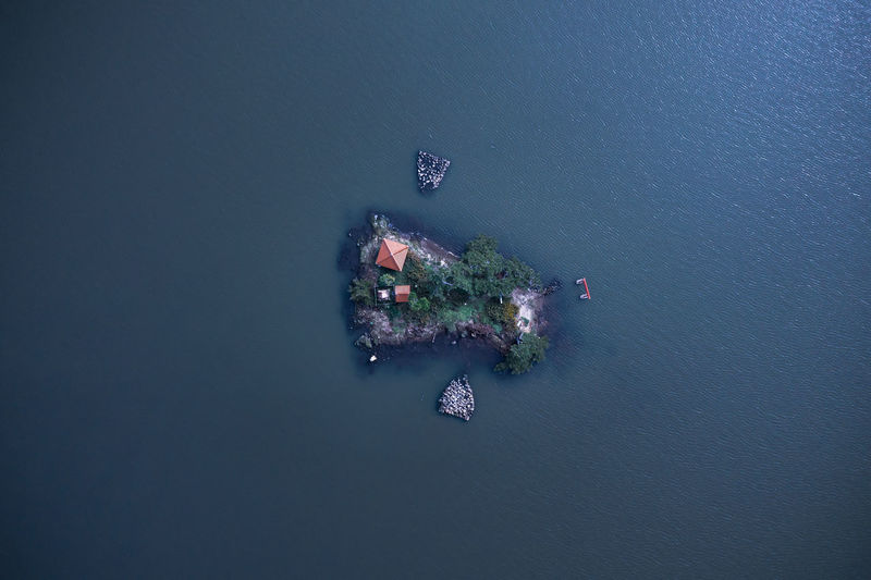 High angle view of island in sea