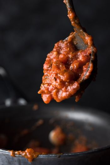 Close-up of spaghetti sauce