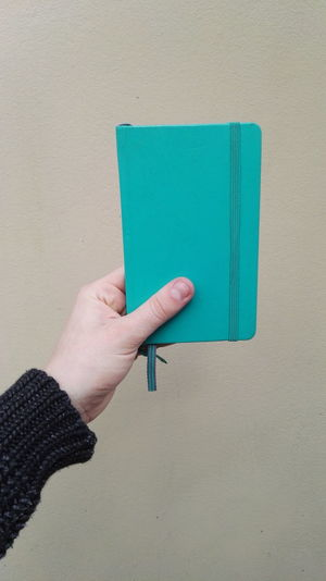 Close-up of cropped hand holding diary
