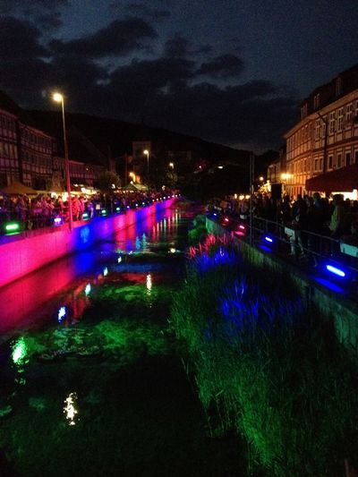 Architecture Built Structure Fluss Erleuch Illuminated Night Sky Tranquility Waterfront