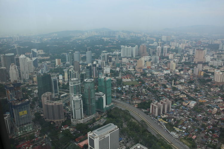High angle view of cityscape seen through petronas towers