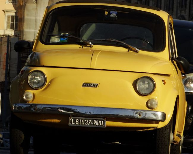 Giallo storico Yellow Transportation Car Mode Of Transport Outdoors Close-up Colorphotography Italy 500 Cinquecento Fiat500 Storica Inmortal  Gioiello