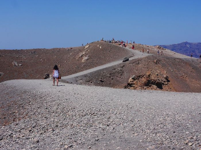 Real People Volcano Clear Sky Budget Traveller Adventure Outdoors Hiking Volcano Sky Beauty In Nature Summeringreece Santorini, Greece Tourist Destination Adult People Live For The Story The Great Outdoors - 2017 EyeEm Awards The Photojournalist - 2017 EyeEm Awards Let's Go. Together. EyeEm Selects Breathing Space The Week On EyeEm hiking on a volcano. I celebrated my 30th birthday in Greece and tug along a friend with the condition that I will be the one who will lmake the itinerary. So I did. Your Ticket To Europe Mix Yourself A Good Time Been There. Done That. Lost In The Landscape Connected By Travel Perspectives On Nature An Eye For Travel