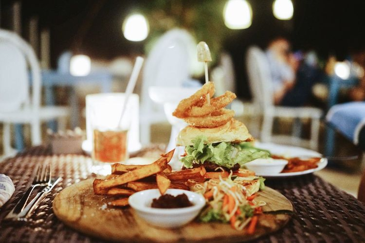 Close-up of fresh meal served on table at restaurant