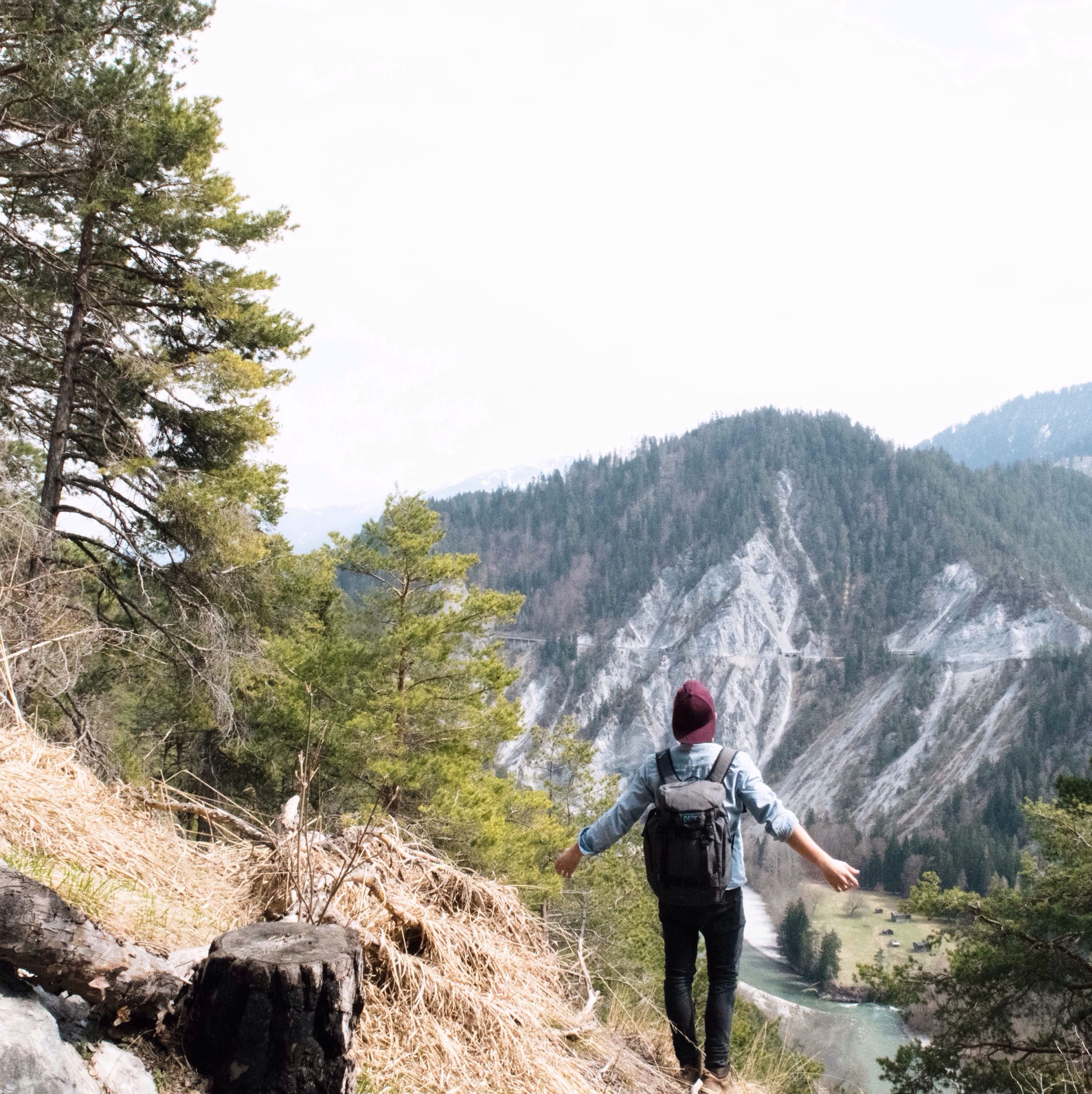lifestyles, mountain, leisure activity, full length, rear view, men, hiking, clear sky, backpack, rock - object, casual clothing, standing, person, nature, landscape, scenics, tourist, tranquility