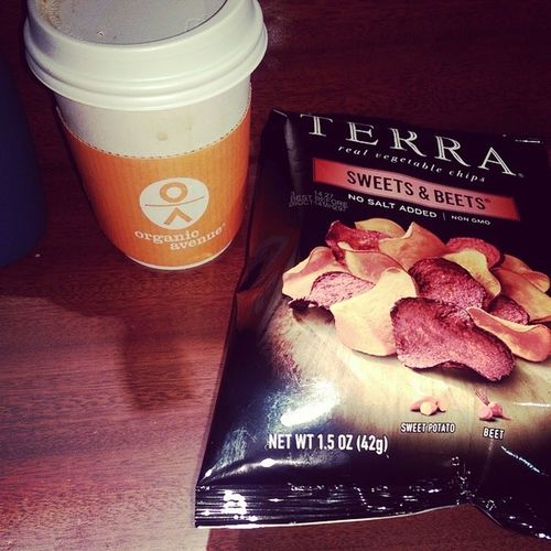 A shot of @organicavenue coffee and some Terrachips Sweetsandbeets Nongmo