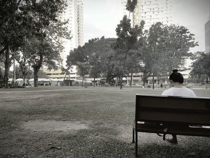 Tree Day One Person People Sitting Outdoors One Woman Only Real People Sky Adults Only Only Women Adult Nature One Young Woman Only Young Adult Cebu City Adults Only City Sitting Grayscale Graydays