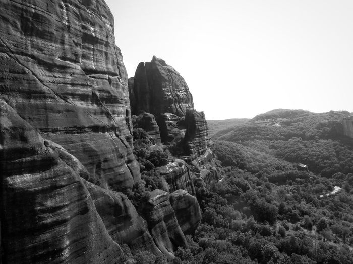 Stunning mountains of Meteora, Greece Unique Landscape Adventure Tourist Monastery Beauty In Nature Travel Mountains Unique Cliff Rocks Nature Scenic Landscape Scenery Unusual Unusual Travel Destination Natural Once In A Lifetime Meteora Greece Overlooking Black And White Outdoors Rural Scene Day Nature