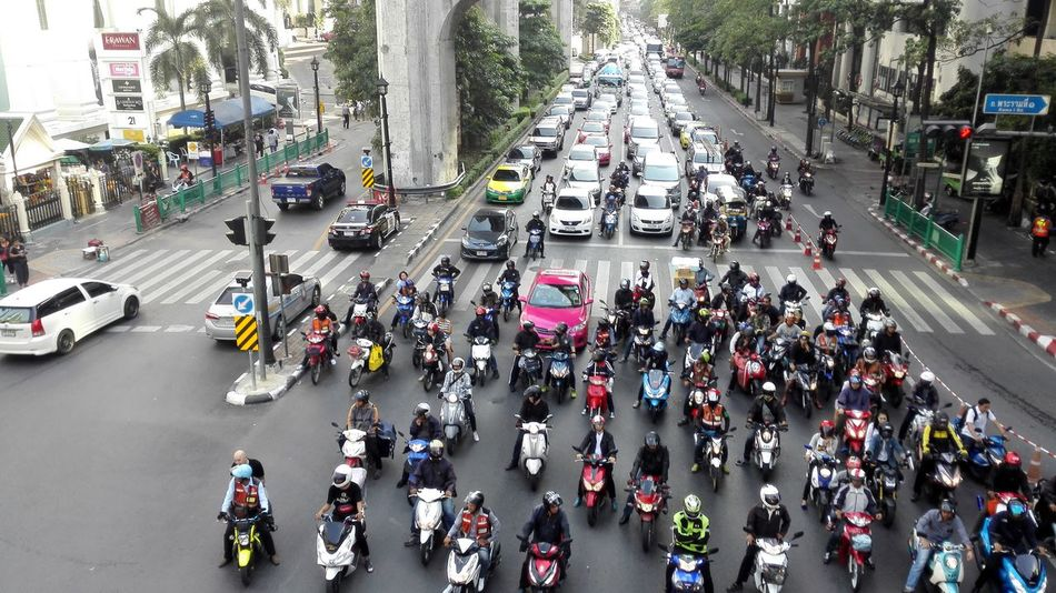 Traffic congestion in Bangkok, Thailand Large Group Of People High Angle View Crowd Street City Street Car City City Life Rush Hour People Thailand Bangkok Traffic Traffic Jam