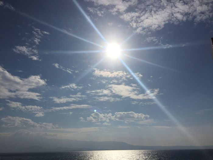 Sun Sunlight Sunbeam Lens Flare Beauty In Nature Nature Sky No People Day Shining Sea Scenicphotography Majestic Aegean Sea