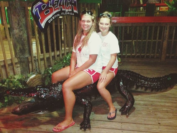 sat on an alligator !!! it was scary!!!! hhahahaha jk its plastic