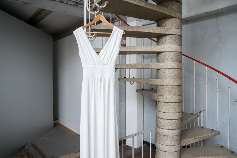 Clotheshanger Dress Handrail  Indoors  No People Spiral Staircase White Color White Dress