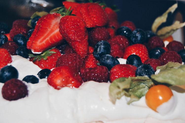 Close-up of pavlova dessert