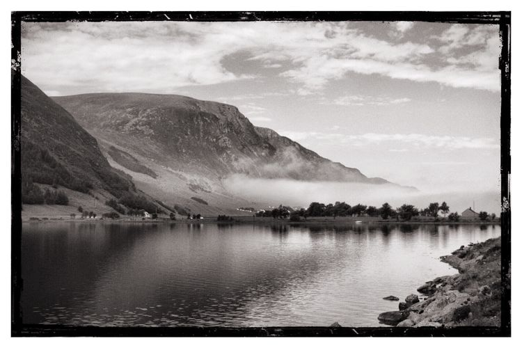 Mountain Lake Beauty In Nature Water Scenics Sky Nature Tranquil Scene Outdoors Mountain Range Tranquility No People Day Landscape Majestic Eyem Collection EyeEm Week Amaturephotography Black And White Norway EyeEm Selects