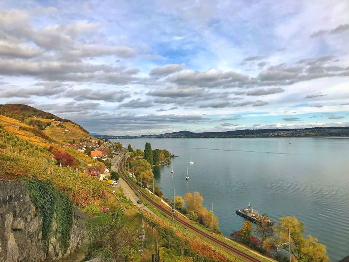 Vignes Lac De Bienne/ Bielersee Lake Sky Cloud - Sky Water Nature Beauty In Nature Scenics Tranquil Scene High Angle View Tranquility No People Outdoors Landscape Travel Destinations