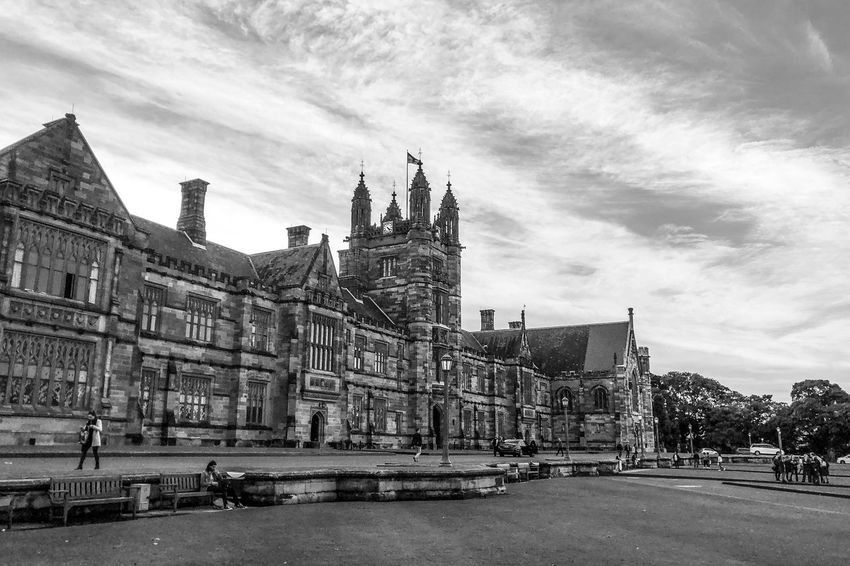 The campus Black And White Light And Shadow Monochrome Sydney University Building Exterior Architecture Built Structure Sky Cloud - Sky Building Nature Travel Destinations History Day Low Angle View The Past City The Architect - 2018 EyeEm Awards