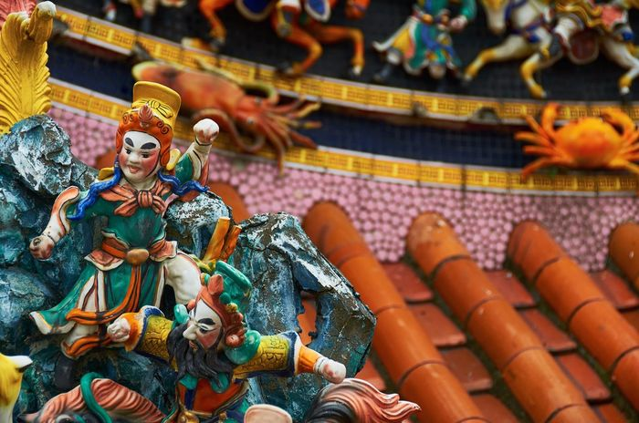 Guandu Temple, Taipei, Taiwan Confucianism Religious Art Decoration Colorful Vivid Taipei Taiwan Temple - Building Temple Guandu Temple Architecture Chinese Religious Architecture Historic Historical Building Asian  Ornate Traditional Traditional Culture Roof Figure Crab Octopus