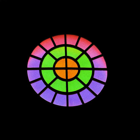 Stained glass Multi Colored Colorful Indoors  Geometric Shape Architectural Design No People Lit TakeoverContrast Pattern, Texture, Shape And Form Circle Of Light Minimalism Glass Art