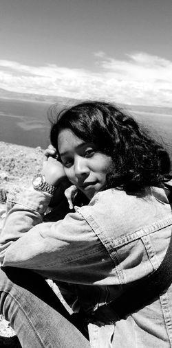 Young Women Portrait Beautiful Woman Beach Sand Relaxation Headshot Lying Down Eyes Closed  Sky