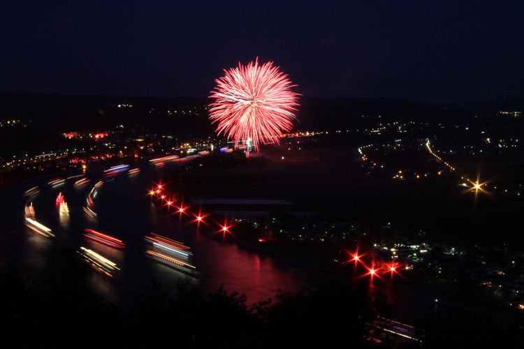 Rhein in Flammen Architecture Blurred Motion Building Exterior Built Structure Celebration City City Life Cityscape Exploding Firework - Man Made Object Firework Display Illuminated Long Exposure Motion Night No People Outdoors Sky HUAWEI Photo Award: After Dark