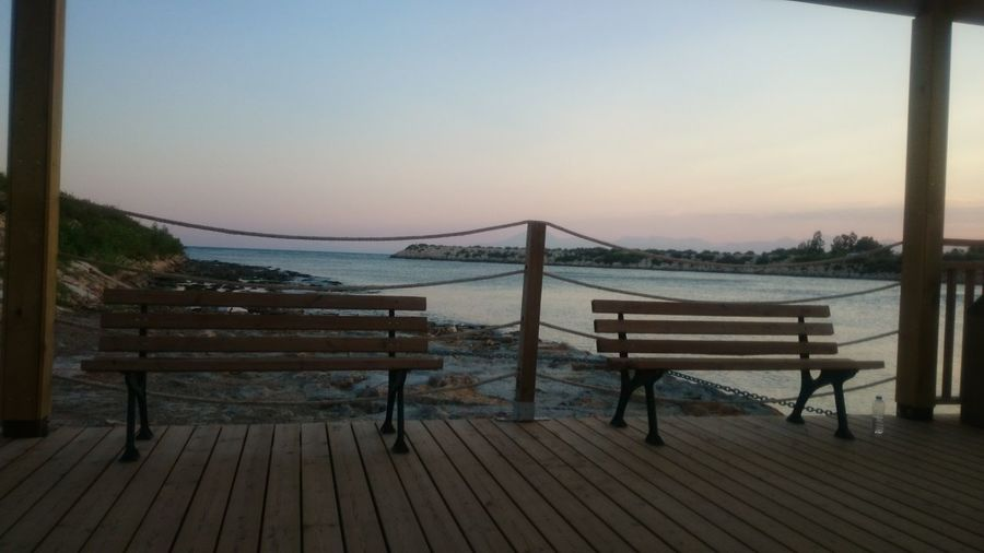 Waiting Sea River Water Two Bench EyeEm Gallery No People Sunset Walking Around Travel Relax View Quiet Time Quiet Beuty
