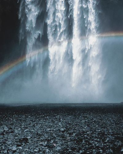 Iceland Waterfall Skogafoss with rainbow Beauty In Nature Day Eye4photography  EyeEm Best Shots EyeEm Gallery EyeEm Nature Lover Horizon Over Water Iceland Landscape Landscape_Collection Nature No People Outdoors Rainbow Scenics Sea Sky Splashing Water The Great Outdoors - 2017 EyeEm Awards