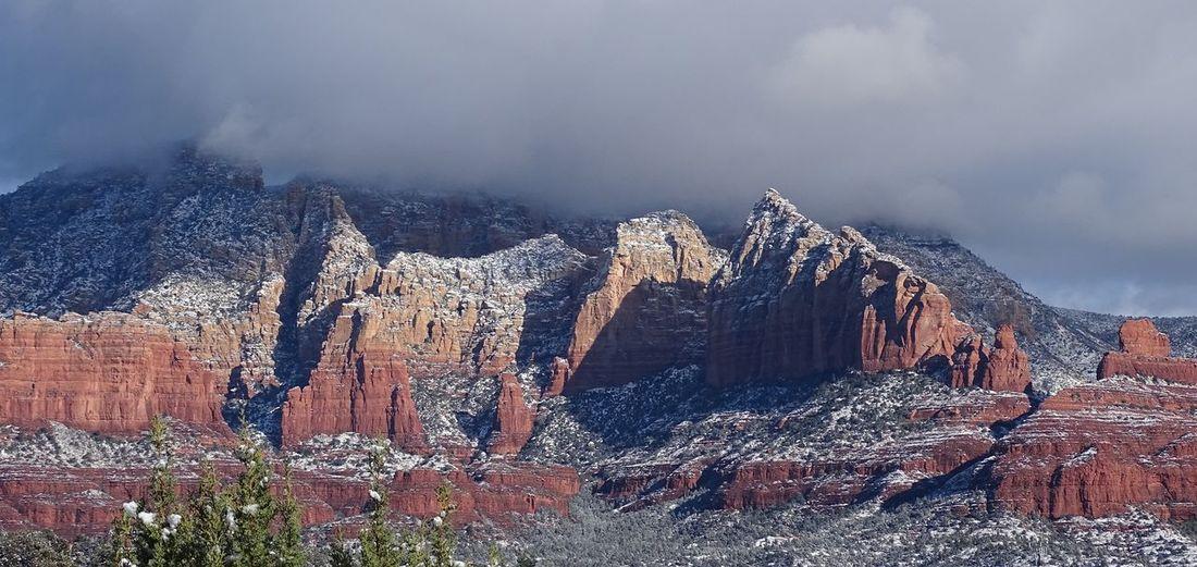 Frozen Rock Formation Against Sky