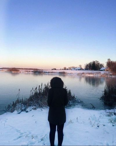 Nature Cold Temperature Beauty In Nature Clear Sky Tranquility Warm Clothing Person Sky Day Lithuania