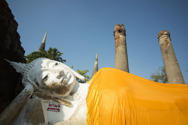 Reclining buddha statue in wat yai chai mongkhon temple